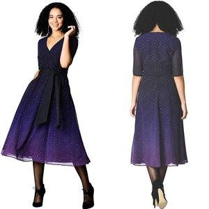 EShakti Ombre Star Print Georgette Maxi Tie Dress